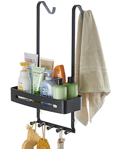 TZAMLI Mensola per doccia senza forature, da appendere alla parete della doccia, con porta asciugamani e ventosa (nero, 1 livello)