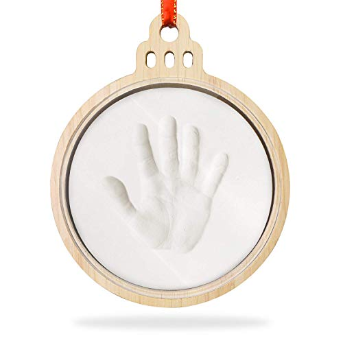Creawoo Baby Imprint Frame Handprint Footprint Keepsake Kit Christmas Wooden Decoration Perfect for New Born Baby Boy Girl Shower Gifts with Ring Tool and Display Bell Shaped Frame
