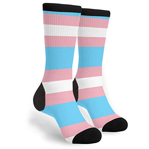 Packsjap Transgender Pride Flag Men & Women Casual Cool Cute Crazy Funny Athletic Sport Colorful Fancy Novelty Graphic Crew Tube Socks