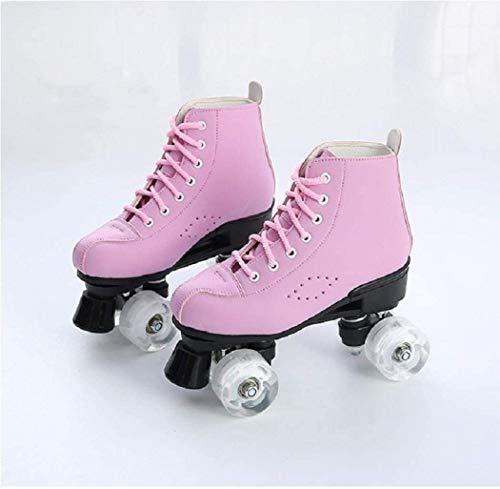 Damen-Rollschuhe PU-Leder-High-Top-Rollschuhe 4-Rad-Rollschuhe Mädchen glänzende Rollschuhe (6,Pink Without Flash)