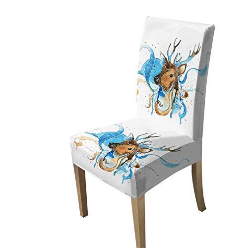 KORANGE Stuhlhussen Stuhlhusse Stuhl Hussen Polyester (Color : Watercolor Deer)