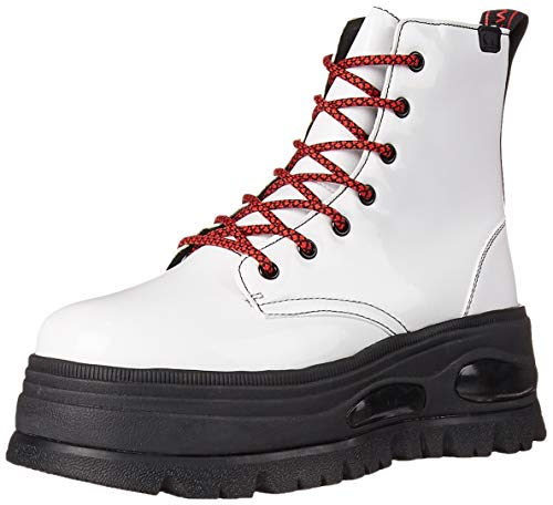 Coolway Damen Combat Boots, Weiß, 38 EU