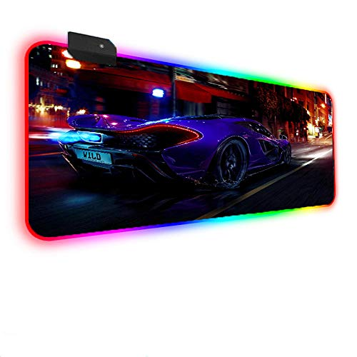 Mouse Pads Luxury Blue Sports Car RGB Gaming Mouse Pad with 14 RGB Light up Modes,LED Gaming Pad,Non-Slip Rubber Based Computer Mice mat 11.81'x35.43'