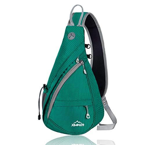 Xboun Sling Backpack Chest Shoulder Bag Crossbody Cycling Travel Hiking Daypack (Cyan-Green)