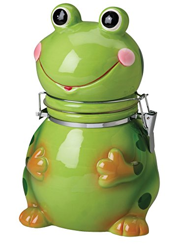 Hinged Jar, Frog Collection, Hand-painted Earthenware Storage Container by Boston Warehouse