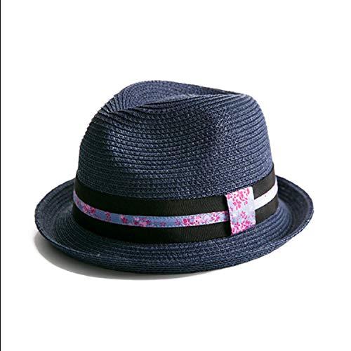 SLM-max Warmer Hut,Schatten StrohFrühling-Sommer Jazz Individuelle Mode Schatten Sonnenschutz bequem (Farbe: Saphirblau, Größe: M)