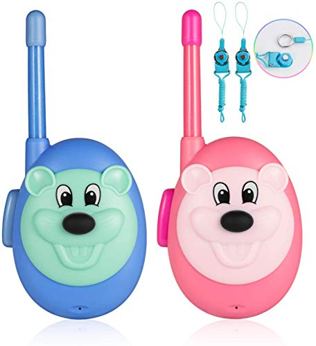 Jaybest Walkie Talkies for Kids, Long Range Two-Way Radio with Crystal Clear Sound, Best Birthday Gifts Toys for Boys Girls, Outdoor Adventure Games, Camping, Hiking - 2 Pack (Blue & Pink)