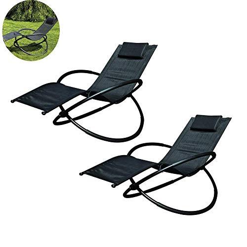 Dalovy Cómodo 2 Juegos de Mecedora de Jardín Plegable Basculante Ajustable al Aire Libre Asiento de Gravedad Cero con Reposacabezas Cubierta de Patio de Pesca para Acampar