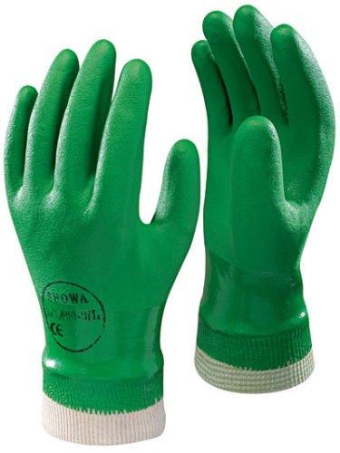 2 x pares de Showa 600 PVC verde guantes de seguridad para...