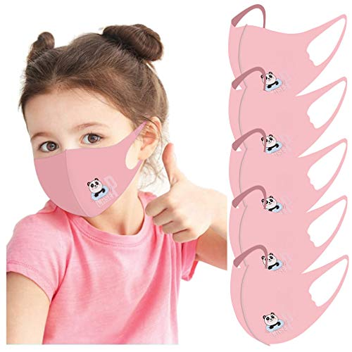Kids Face Cover Balaclavas 5Pcs Cartoon Print Mouth Covers Ice Silk Cotton Dustproof Scarf for Childrens Boys Girls - 【US Fast Shipping/ 7-15 day on Delivery】 (5Pcs-G)
