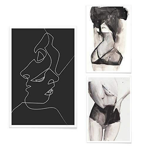JUNIQE® Poster-Set - Silhouetten in Schwarzweiß - Poster & Prints für stilvolle Wände - 2X 20x30 & 1x 30x45