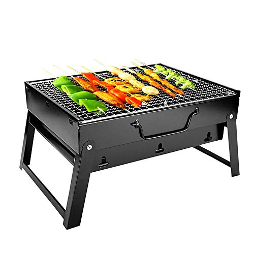 Ruiao Parrilla plegable portátil de carbón parrilla de mesa con asa para barbacoa 3-4 personas (grande)