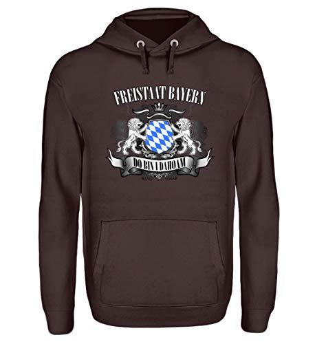 Shirtee FREISTAAT Bayern - Unisex Kapuzenpullover Hoodie -XXL-Schokolade
