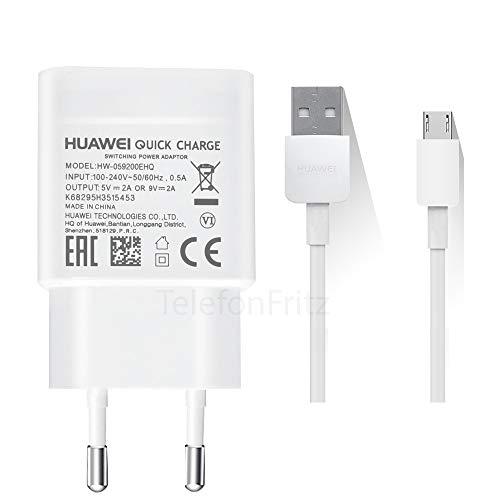 TELEFONMAX Schnell-Ladegerät Netzteil HW-059200EHQ 2A QuickCharge 2A / Ladekabel MicroUsb für Original Huawei P10 Lite/ P9 Lite/ P8/ P8 Lite/P Smart/P Smart 2019 Honor 7 6/ Ascend P8 P7 +Displaytuch