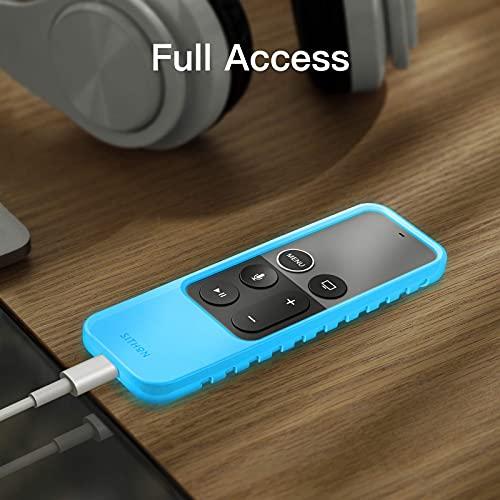 SITHON Silikon Hülle Kompatibel mit Apple TV 4K 5. und 4. Generation/HD Siri Remote Fernbedienung (1. Generation), Leichte rutschfeste Stoßfeste Schutzhülle, (Nachtlichtblau)