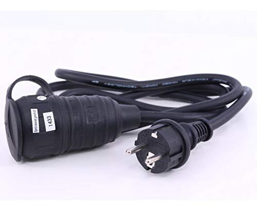 Stromkabel 1,5m mit 3x1,5mm² Leitung, Stecker und Kupplung mit Deckel montiert - Stromverteiler für Messestand Unterverteiler für Messe Stand Stromverteilung Messestände Verlängerungskabel Schuko Kabel Stromkabel für Messen