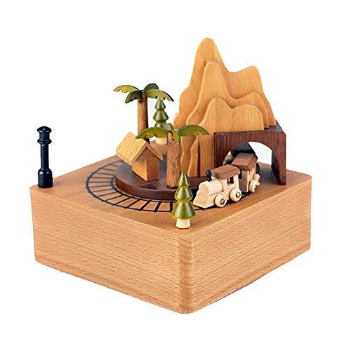 ZGQA-GQA La montaña Rusa Caja de música de Madera de Base decoración de Madera Manualidades artesanales Adornos (Color: El Color del Cuadro, Tamaño: 11X11X13CM)