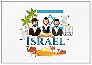 Travel to Israel Traditions and Culture, Symbols and Attractions, Illustration Classic Fridge Magnet