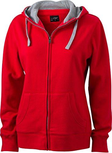JN962 Damen Lifestyle Sweatshirt Jacke mit Kapuze, Größe:L;Farbe:RED