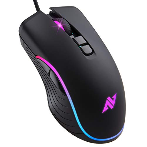 ABKONCORE AM6 Gaming Maus mit 4Dpi Levels (800, 1600, 2400, 3200) programmierbare Tasten, kabelgebunden, USB-Computermaus für Gamer, Laptop, Videospiele Chromebook Mac mit RGB PC Gaming Maus