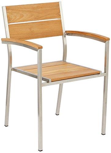 Greemotion 128530 Gartenstuhl SAN Diego-Teak Holz Stapelstuhl in Braun mit Edelstahl-Stapelsessel mit Armlehne für Garten Balkon & Terrasse-Teakholz Stuhl massiv, 5,3 x 5,6 x 8,4 cm