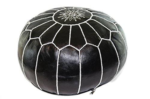 GRAN Black Handmade Leather Moroccan Pouf Footstool Ottoman   Genuine Leather with Hand Embroidered White Stitching   Unstuffed