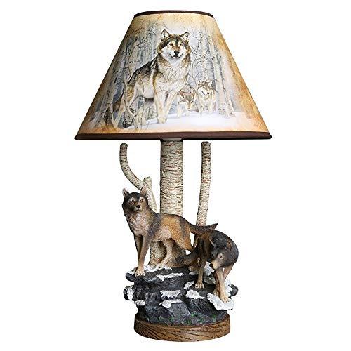 Hdmy Retro creativo Forest Wolf Resina Mesa de escritorio Luz Nostálgica Oficina Sala de estar Dormitorio Mesita de noche Sombra de lino Lectura Escritorio Luces E27 Accesorio de linterna estándar
