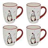 CREOFANT 4er Set Tassen Wichtel Design · Tasse Dolomit · Weihnachtstasse Weiß · Weihnachten Geschirr · Glühweinbecher