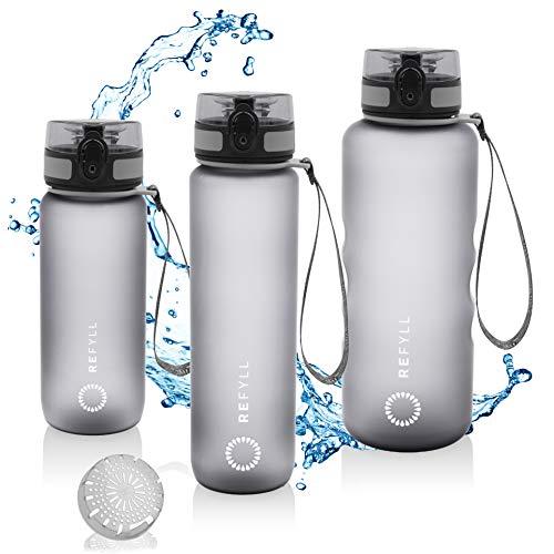 REFYLL Sport Trinkflasche mit Früchtebehälter I 'powerFYLL' Wasserflasche für deinen Lifestyle I BPA freie Sportflasche aus Tritan für Sport, Uni, Schule, Büro und Fitness (Grau, 1l)