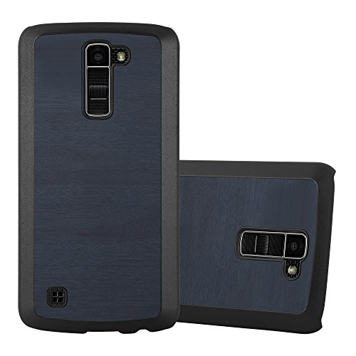 Cadorabo – TPU Hard Cover in Ottica di Legno per > LG K10 (Modello 2016) / M2 < - Case Cover Involucro Bumper Accessorio in WOODY-Blu scuro