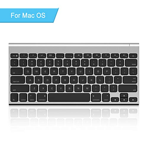 Rechargeable Bluetooth Keyboard for Mac OS, Jelly Comb Ultra Compact Mini Wireless Keyboard Compatible for MacBook, MacBook Air, MacBook Pro, iMac, and iMac Pro - Silver and Black