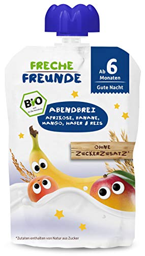 Freche Freunde Bio Beikost-Quetschie Abendbrei Aprikose, Banane, Mango, Hafer & Reis, Babynahrung ab dem 6. Monat, 6er Pack (6 x 100g)