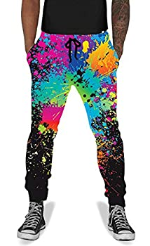 UNIFACO Men Women Causal Splatter Active Jogging Pants Baggy Elastic Sweatpants Black L