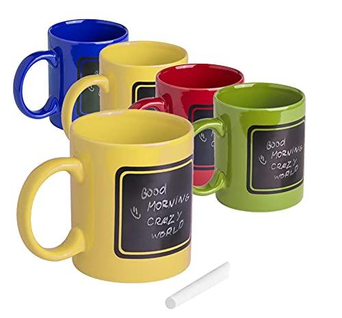 Juego 8 tazas cerámicas de 370ml, divertida gama de 4 colores, zona negra pizarra para pintar. Tiza incluida y presentada en caja individual