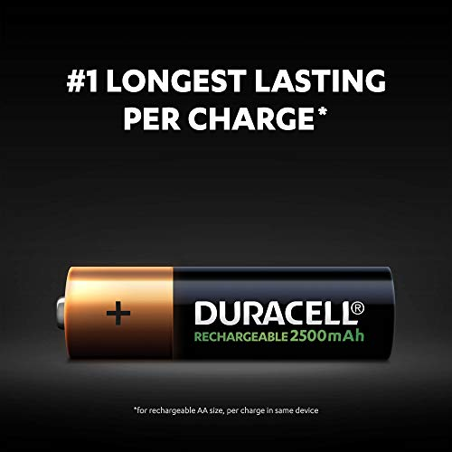 Duracell Rechargeable AA 2500 mAh Batteries Ideal for Xbox Controller, Pack of 4