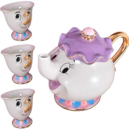 Cartoon Beauty And The Beast Teiera Mrs Potts Chip Mug Sculpture ceramica Tea Set (Teiera* 1 tazza*3)
