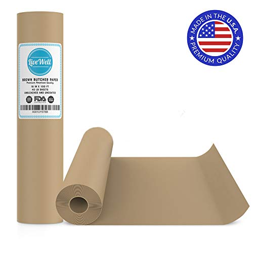 USA Brown Butcher Paper Kraft Roll - 18' x 1200' (100ft) - Food Grade – Great Smoking Wrapping Paper for Meat of All Varieties– Made in USA– Unwaxed and Uncoated (Brown - 18'x100')