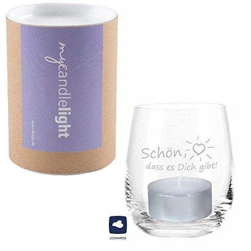 4you Design Leonardo Windlicht Schön, DASS es Dich gibt, Windlicht mit Spruch und Geschenkebox, Teelichtleuchter, Glaswindlicht, Geschenkidee, (Glas)