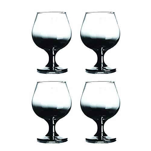 """HOMQUEN Cristal de Brandy de Cristal, 12 onzas, 5.3"""", espíritus artesanales, Vasos de coñac, Juego de 4 (Transparente con Degradado Negro)"""