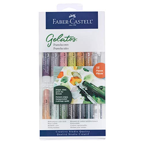 Faber-Castell Gelatos Colors Set, Translucents - Water Soluble Pigment Crayons - 12 Translucent Colors …