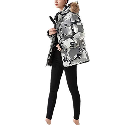 Damen Jacke Unisex Daunenmantel mit Pelz Kapuze verdicken Winter-dünne Daunenjacke In Paar Lässige Parker Wattierte Jacke Multiple Color (vegan hergestellt) (Color : White Camouflage, Size : XXL)