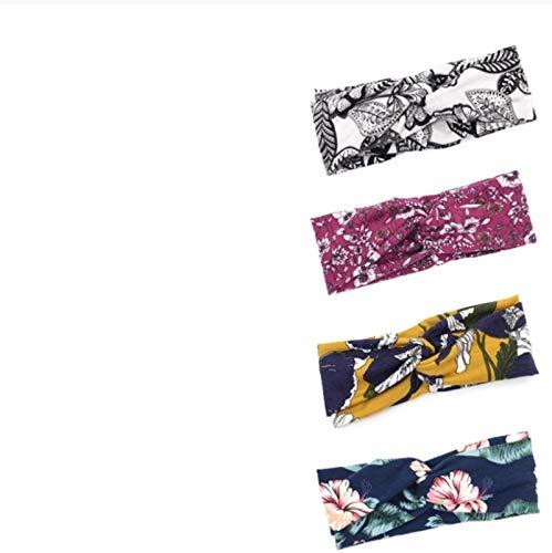4 unidades de flores para el pelo de las mujeres bandas elásticas para el pelo de las niñas diadema turbante suave algodón ancha banda para el pelo haarband regalo para el día de la