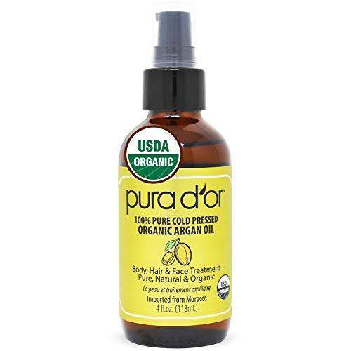 PURA D'OR Organic Moroccan Argan Oil Pure Cold Pressed Virgin Premium Grade Moisturizer Treatment for Dry & Damaged Skin, Hair, Face, Body, Scalp & Nails