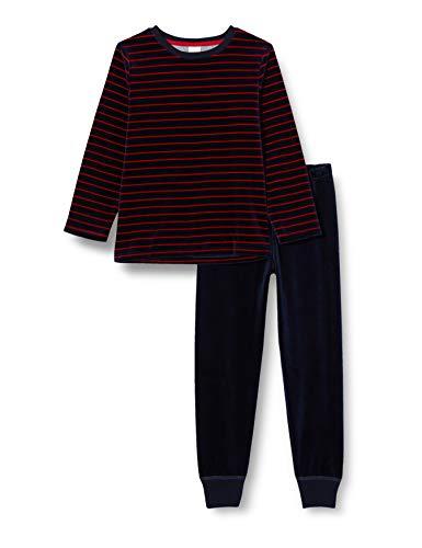 Sanetta Jungen Long Nordic Blue Gemütlicher Nicki-Pyjama feinen Streifen-Look und bequemer dunkelblauer Hose, blau, 098