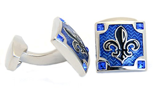 Boutons de manchette Lys Noir Bleu roi vernis transparent carré + 4 pierres de cristal bleu + Argent Boîte