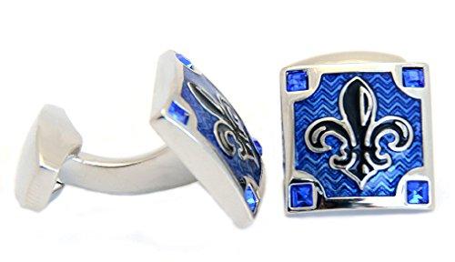 Gemelli con giglio reale nero e blu posti su base quadrata con 4 pietre di cristallo blu, consegnati in scatola color argento