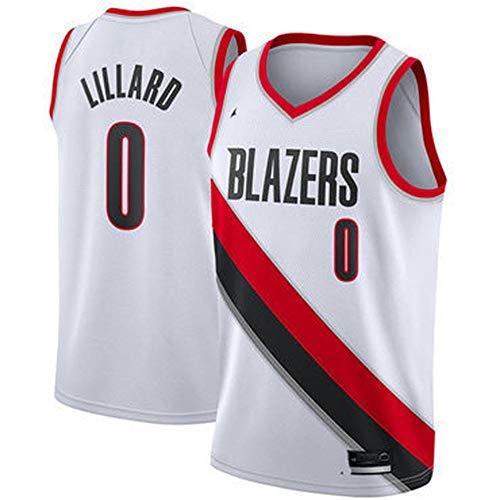 QKJD NBA Abbigliamento Basket City Edition Trailblazer No. 0 Lillard Nero Bianco Rosso Maglietta Estiva Traspirante e Assorbente dal Sudore Felpa Fitness E-S