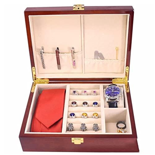 WPJ Caja de Reloj de Lujo Organizador de Joyas for Hombres, Caja de joyería de Caja de Almacenamiento de Madera for Reloj de Pulsera Pulsera Anillo de Collar
