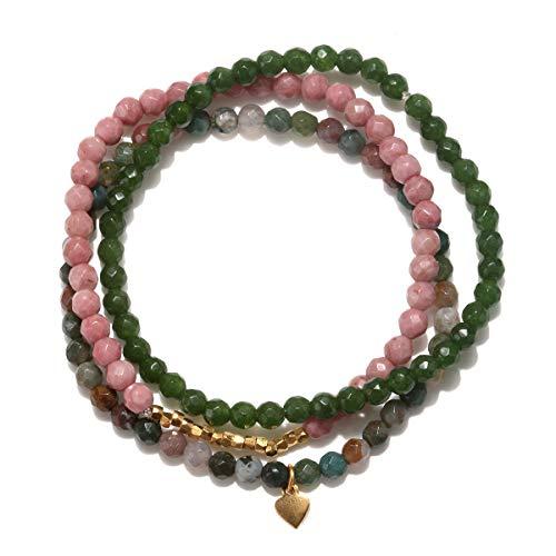 Satya Jewelry Women's Rhodonite, Fancy Jasper, Jade Gold Petal Stretch Bracelet Set, Multi, One Size