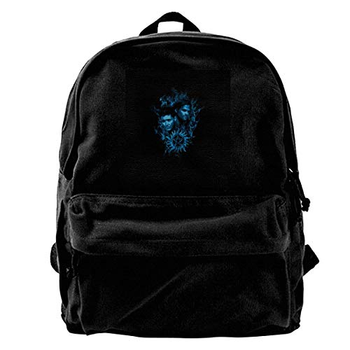 Daypack Sam and Dean Blue Flame Supernatural Canvas Backpack Anime Daypack Book Durable Shoulder Bag Adult Travel Portable Unique Birthday College Bag Print Student Gift School